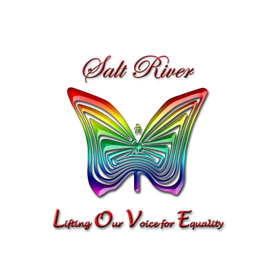 Logo for Salt River love with a rainbow colored butterfly combined with a cutout design of the Man in the Maze