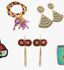 Photo of beaded wearable artwork by Native beaders profiled in the article.