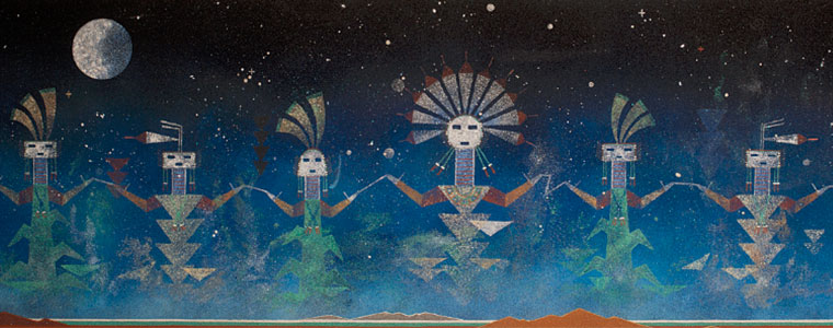 sand painting of sacred Navajo spirit beings lined up holding hands in front of a night sky