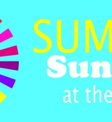 Multcolor sun design on blue background next to words next to summer in yellow and Sundays at the Heard in white.