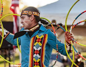 Photo of Cody Boettner in traditional regalia dancing in the 2019 Hoop Dance contest.