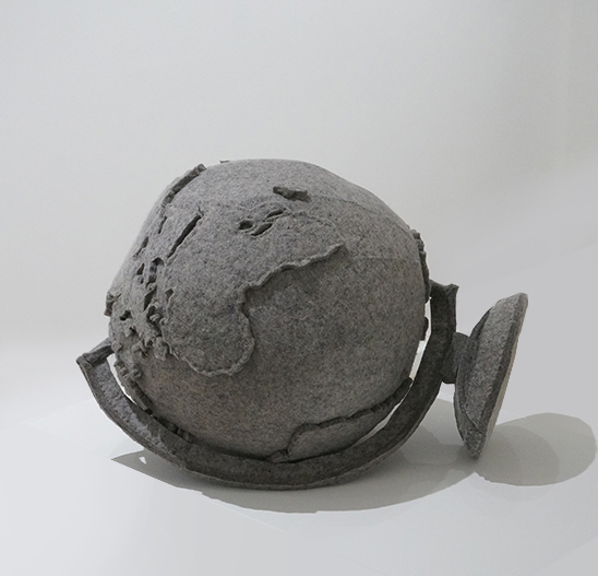 "Maria Hupfield, ""Globe."" Industrial gray felt, polyester fill. Collection of John Cook"