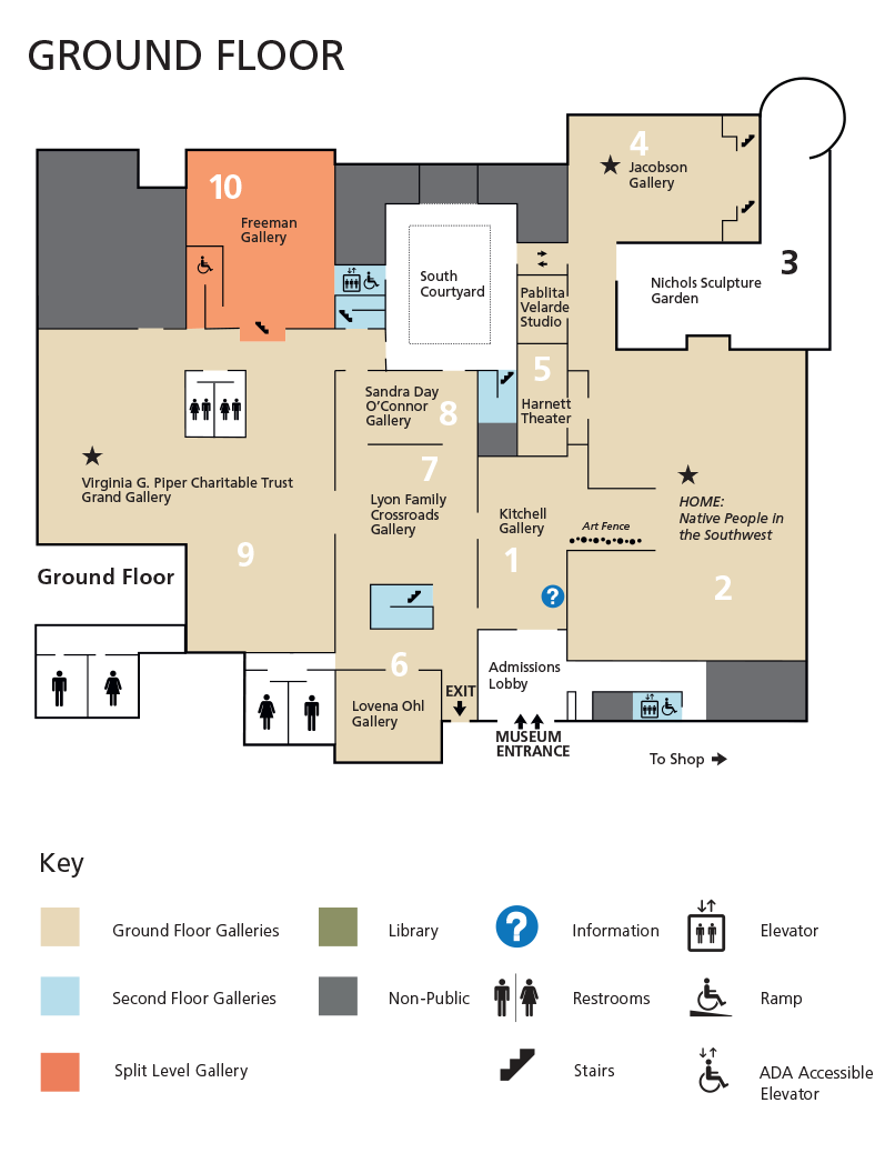 Map diagram of the first floor galleries in the museum including key