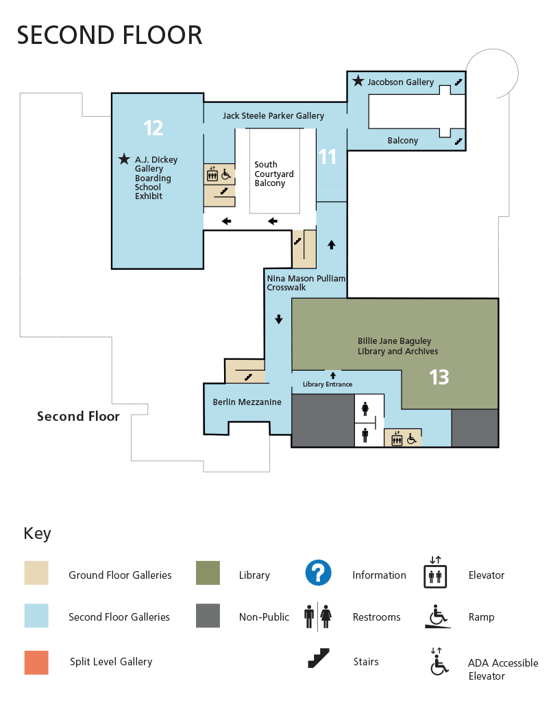 Map diagram of the second floor galleries in the museum including key