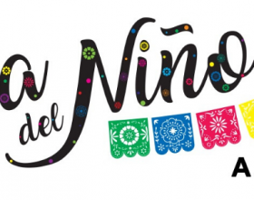 A colorful papel picado, or paper banner below the words Dia Del Nino April 26, 2020.