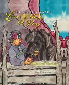 Illustrated book cover of a young Navajo boy giving an apple to a black horse behind a wooden fence