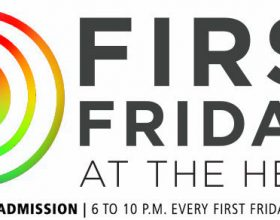 Multi colored swirly circle next to words First Fridays at the Heard.