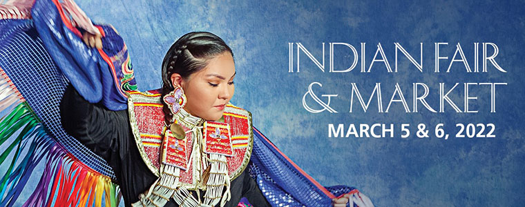 Heard Museum Guild Indian Fair and Market banner- dates are March 5 & 6, 2022 to the right of a female American Indian Fancy Dancer in a dramatic pose