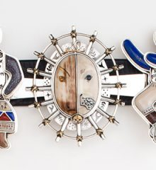 Concho belt by Denise Wallace with traditional northern American Indian figural designs in silver and carved ivory and stones