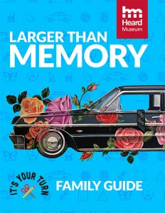 family guide cover- color drawing of bright blue background with half of an old American car decorated with oversized flowers