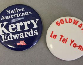 presidential election buttons on gray background