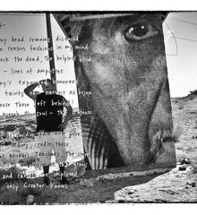 handwritten poem over scene of young Native man standing in the southwestern desert with pinnacle formation in distance and large panel with closeup of half a face next to him