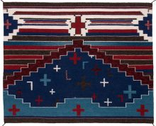 Navajo rug in blue, white and red with horizontal stripes and equilateral crosses