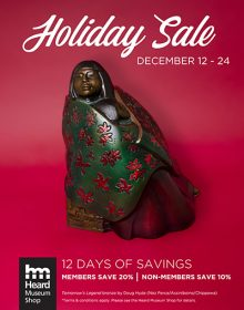 holiday sale at Heard Museum shop poster with red background and bronz sculpture of a woman wrapped in fabric by Doug Hyde