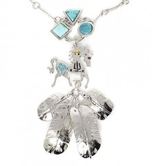 sterling silver necklace with turquoise of a prancing horse form with large silver feathers dangling below.