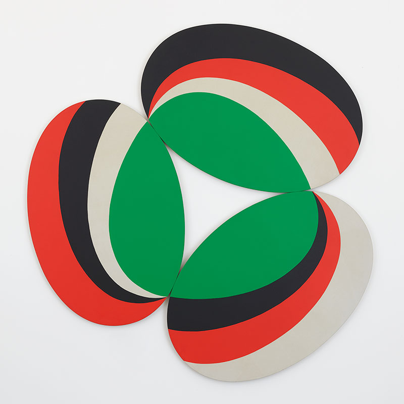 3 oval canvases in a circle with bands of black, red and tan and a center band on each of bright green