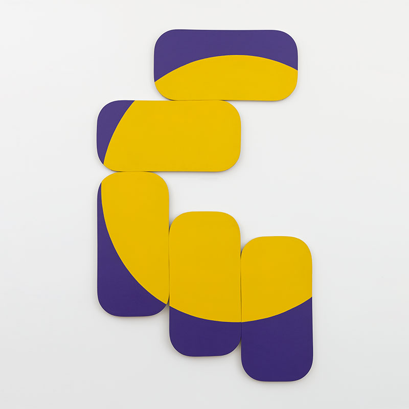 multiple painted round edged rectangular panels sectioned together to show a portion of a circle in bright yellow bordered by a dark purple