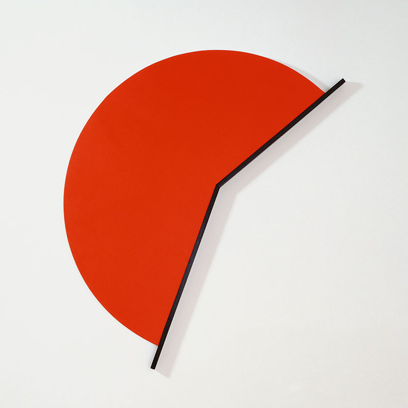 geometric painting of partial red circle bordered by a strong black line angled like clock hands at approximately 2.35