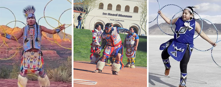 images of American Indian hoop dancers in different landscapes