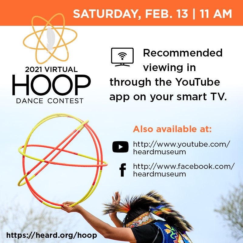 2021 Virtual Hoop dance graphic with links to the premieres on YouTube and Facebook