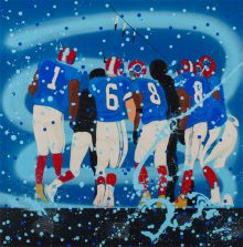 Painting in mostly blue hues of an abstracted huddle of football players with mostly their backs to the viewer. Some have buffalo style horns on the sides of their helmets while a traditional feather adorned spear can be seen in profile within the group.