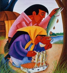 Abstract geometric brightly colored painting of a main and young girl wearing a bright yellow headscarf stringing fish on a line at the edge of a lake