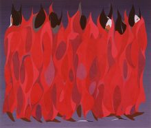 abstract painting of figures in a bunch wreathed in geometrically shaped bright red garments from neck to feet in a gray background.
