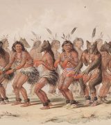 Hand colored lithograph by Geoarge Catlin of a circle of American Indian dancers performing the Bear Dance, circa 1844