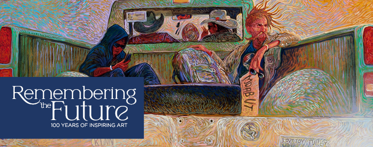 """Banner for the exhibition """"Remembering the Future: 100 Years of Inspiring Art"""" showing a detail of an Impressionistic style painting by Navajo artist Shonto Begay of 2 figures in the back of a green pickup truck"""
