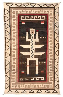 Handwoven Navajo weaving of an abstracted geometric Ye'ii figure on a brown ground with multiple geometric borders