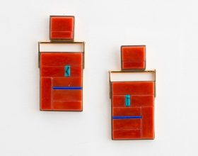 Geometric rectangular drop earrings by Richard Chavez in inlaid coral, lapis and turquoise.