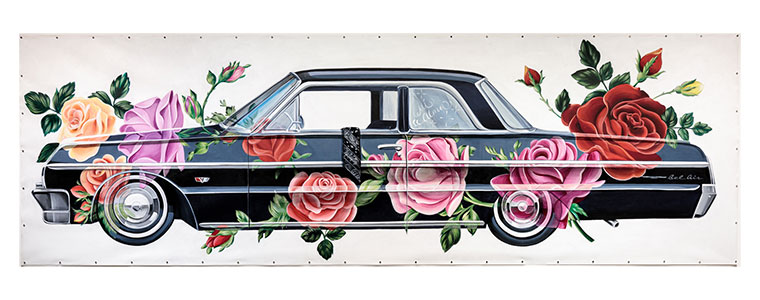 Large drawing by Nanibah Chacon in vivid color of an older dark blue/black colored American car overlaid with large roses and a folded dark bandana hanging over the open window doorframe of the driver's side door.