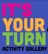 Colorful banner for It's Your Turn kid friendly exhibition space showing cartoon style drawings of an iPad, crayons and other art related tools