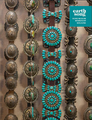 Earthsong publication cover showing a detail of silver and turquoise concho belts hanging vertically against a tan fabric background