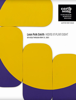 Earthsong publication cover showing a detail of modernist artwork by Leon Polk Smith of geometric grouped canvases in strong gold and yellow colors