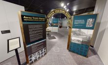 Screentshot of 3D representation of the Irving Museum and Archives NEH on the Road exhibition of American Indian Boarding School Stories showing an arch which says,