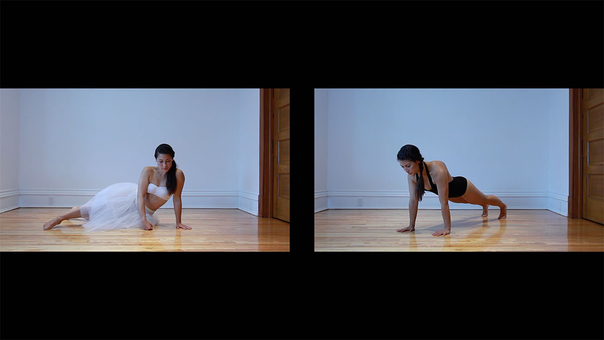 2 side by side video stills of young woman with long black hair in an empty white room with wood floor. On the left, she partially reclines in a long tutu and bandeau. On the right she holds a plank position wearing a black leotard.