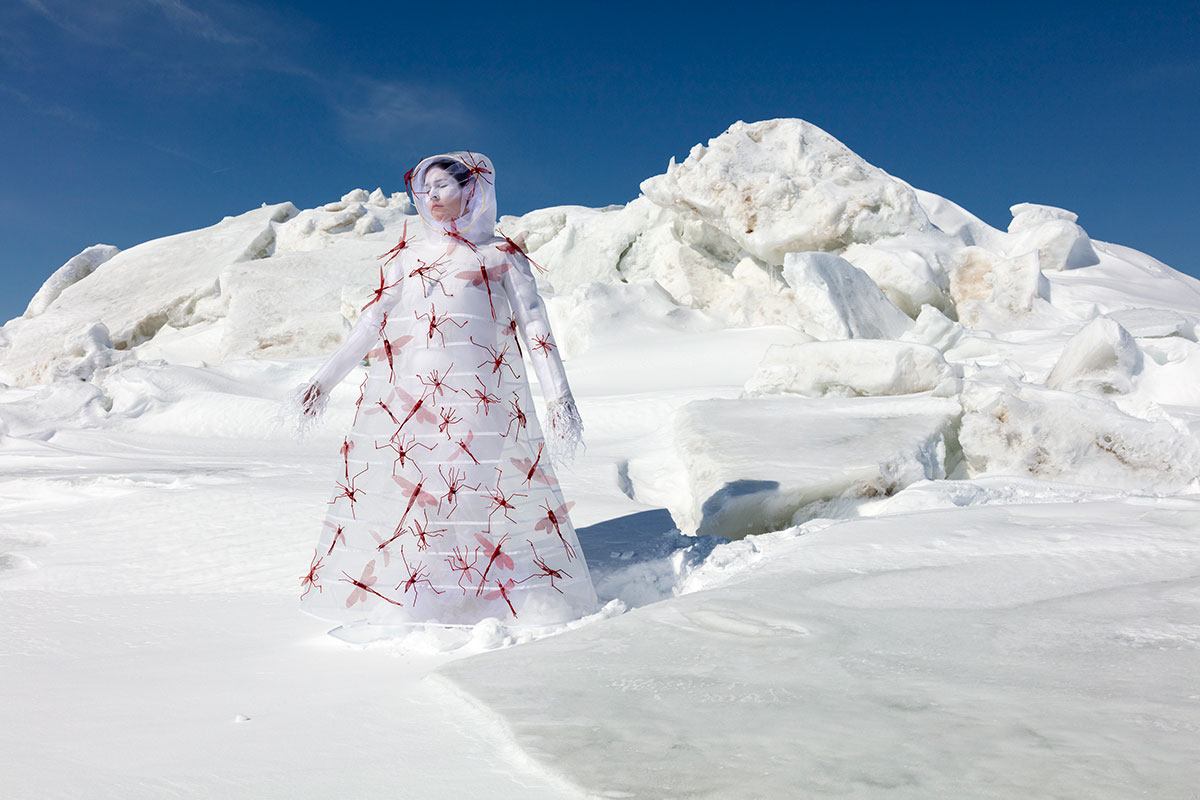 Snow-covered landscape with woman in white dress with large read bugs made from thread covering her.