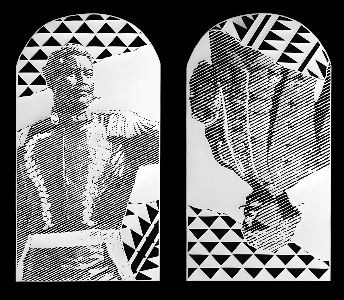 black and white graphic illustration of man in military regalia and another man in colonial style dress upside down
