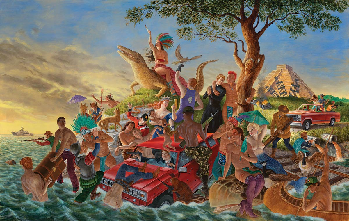 Colorful chaotic painting of American Indian, mythological, allegorical and historical figures by the ocean's edge with a Maya pyramid in the background.