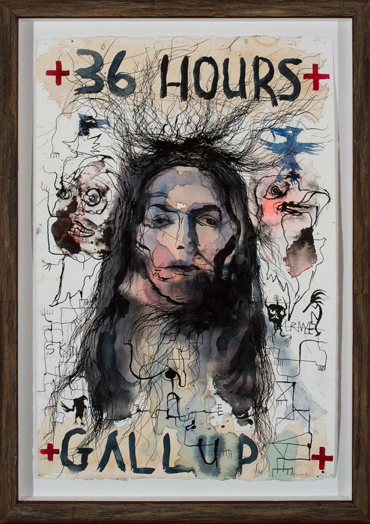 """Pen drawing with soft watercolor splotches of a face with long black hair in the center and indistinct, abstracted figural elements surrounding it. Hand printed at the top and bottom are the words,""""36 Hours"""" and """"Gallup."""""""