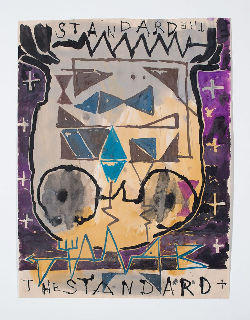 """Splotchy watercolor-style paint and line drawing of an abstracted head upside down with cross and other geometric elements and the words, """"The Standard"""" hand written at the top and bottom of the paper."""
