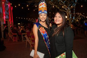 Moondance 2018, Miss Indian Arizona Moriah Sharpe and friend Ruth Bohnee pose in the Freeport McMoRan Plaza, photos by Haute Photography and Videography