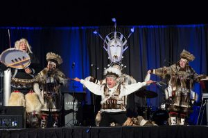The Nunamta Yup\'ik Eskimo Singers and Dancers open the Moondance program with a traditional song and dance